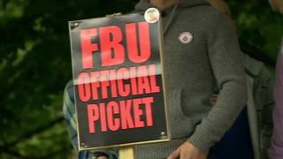 FBU member on picket line during fire union strike