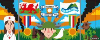 Pete Fowler's design for Ysgol Glancegin war mural