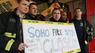 Firefighters on strike at Soho Fire Station