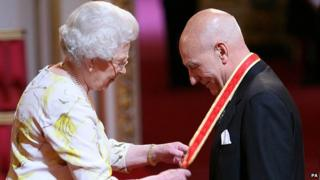 The Queen presents actor Patrick Stewart with his knighthood at Buckingham Palace in 2010