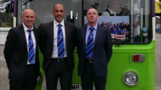 Ady Gallagher, joint manager, Craig Fleming, Director of football and Micky Chapman, joint manager