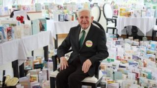 Bernard Jordan with his birthday cards