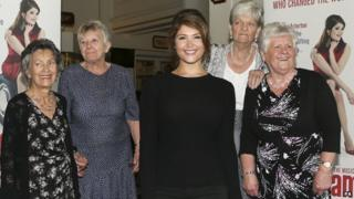 Gemma Arterton (centre) met some of the Ford workers whose story inspired Made in Dagenham