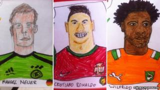 Drawings of football stickers