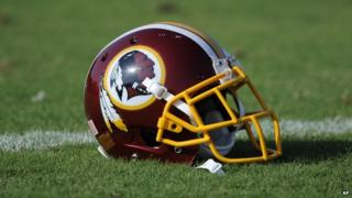 A Washington Redskins football helmet seen in Ashburn, Virginia, on 18 June 2014