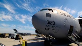 A US transport plane at Manas air base