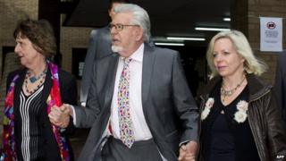 Rolf Harris, his niece Jenny (l) and daughter Bindi (r) on 18 June