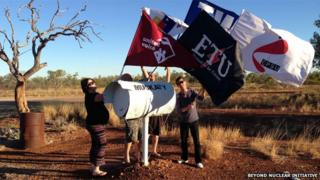 Unions NT representatives at Muckaty Station turnoff