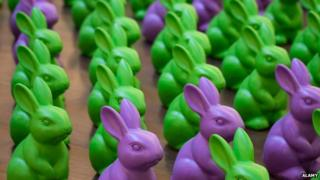Plastic rabbits in rows