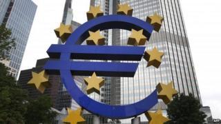 Euro logo at ECB headquarters in Frankfurt