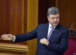 Ukrainian President Petro Poroshenko in parliament in Kiev, 19 June