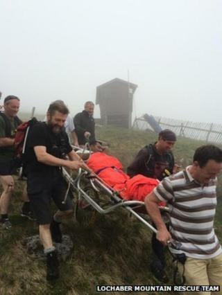 Man being rescued