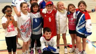 Children in Louise Jukes' Olympics clothes