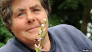 Trudy Ede with bee orchid