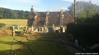 The thatch fire at Mount Pleasant in East Lulworth