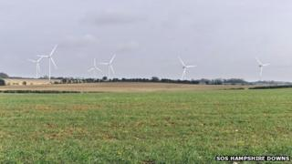 Mock-up of Woodmancott wind farm