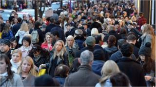 Crowds of people in central London