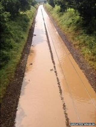 Railway line under water in Brundall