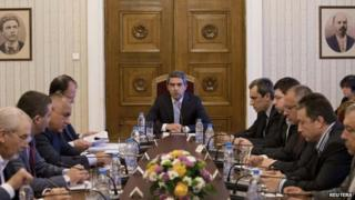 Bulgarian President Rosen Plevneliev (centre) speaks at crisis talks in Sofia. Photo: 29 June 2014
