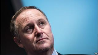 New Zealand's Prime minister John Key addresses a breakfast meeting at the Chamber of Commerce on 19 June 2014 in Washington, DC.