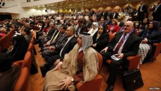 Members of Iraq's new Council of Representatives attend its first session in Baghdad on 1 July 2014