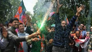 Bharatiya Janata Party (BJP) supporters celebrate party's victory in general elections on May 17, 2014