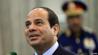 Egypt's President Fattah al-Sisi in Khartoum on 27 June