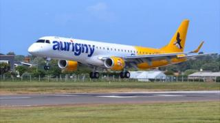 Aurigny Embraer 195 landing at Guernsey Airport for the first time