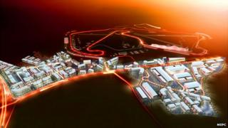 Artist impression of Silverstone Park beside the circuit