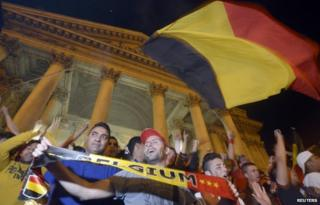 Fans celebrate victory over the USA