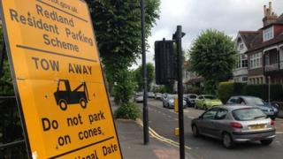 Sign warning of Redland parking zone