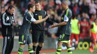Michael Owen comes on for Jon Walters