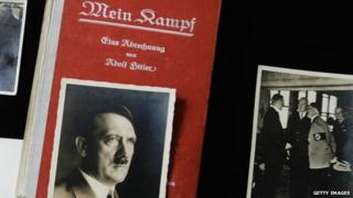 A first edition of Mein Kampf and photos of the Adolf Hitler,