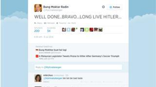 Screenshot of Bung Moktar Radin's public Twitter page.