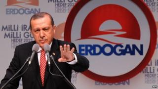 Turkey's Prime Minister and presidential candidate Recep Tayyip Erdogan delivers a speech during a campaign rally in Istanbul (11 July 2014)