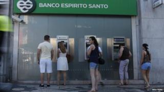 Portugal - Banco Espirito Santo cashpoint, file pic