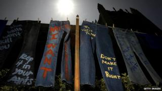 Some jeans hanging on a line at a protest againt rape and sexual assault at the University of California Los Angeles