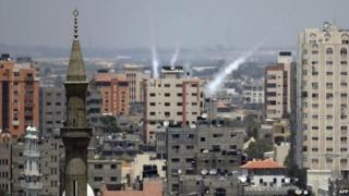 Rockets from Gaza are launched towards Israel, 15 July