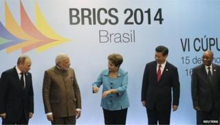 Russian President Vladimir Putin, Indian Prime Minister Narendra Modi, Brazilian President Dilma Rousseff, Chinese President Xi Jinping and South African President Jacob Zuma