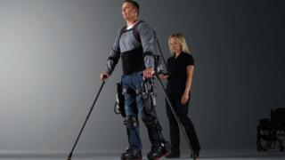 The Ekso bionic suit uses sensors and motors to help people walk again