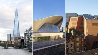 The Shard, Aquatics Centre and London School of Economics' student centre