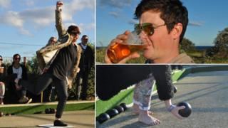 Young people playing bowls and drinking beer