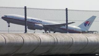 Flight MH17 takes off from Schiphol airport bound for Kuala Lumpur, 17 July