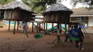 Children playing outside at Nyumbani Children's Home in Kenya