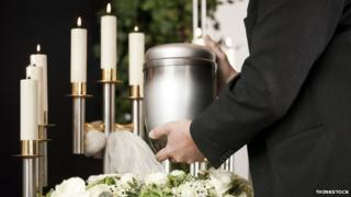 Funerary urn and candles