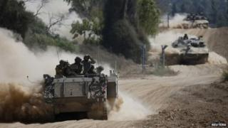 Israeli soldiers near the border with Gaza