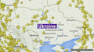 A map of the Ukraine showing few flights above