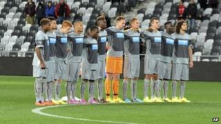 Newcastle United players standing in a line