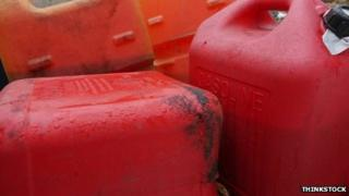 Red fuel cans