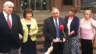 John Brown and family members outside Harrow Crown Court